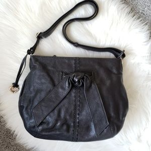 Brighton Black Leather Shoulder Bag with Knot